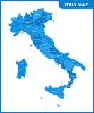 The detailed map of the Italy with regions or states and cities, capital.  Stock Photos