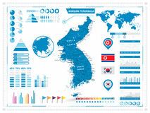 Detailed map of Korean Peninsula with infograpchic elements Royalty Free Stock Photo