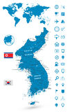 Detailed map of Korean Peninsula with World map navigation set Royalty Free Stock Photos