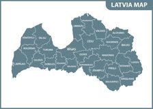 The detailed map of Latvia with regions or states. Administrative division. Vector illustration Stock Photos