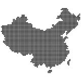 Detailed map of people s Republic of China. Is made of dot, pixel. Vector illustration Stock Images