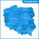 The detailed map of Poland with regions or states and cities, capitals. Administrative division. Vector illustration Royalty Free Stock Image