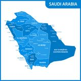 The detailed map of the Saudi Arabia with regions or states and cities, capitals.  Royalty Free Stock Photos