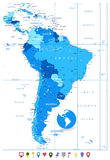 Detailed Map of South America in colors of blue and flat map Stock Image