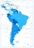 Detailed Map of South America in colors of blue Royalty Free Stock Photos
