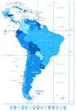 Detailed Map of South America in colors of blue and map pointers Royalty Free Stock Photos