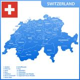 The detailed map of the Switzerland with regions or states and cities, capitals, national flag.  Royalty Free Stock Photography