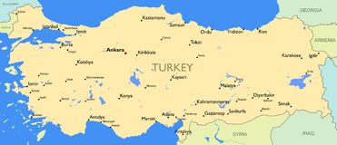 Detailed map of Turkey Royalty Free Stock Image