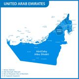 The detailed map of the UAE with regions or states and cities, capitals. United Arab Emirates.  Royalty Free Stock Photo