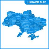The detailed map of the Ukraine with regions or states and cities, capital. Administrative division. Crimea, part of Donetsk and L. Ugansk regions is marked as a Royalty Free Stock Photos