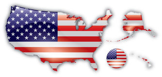 Detailed Map of the United States Stock Photos