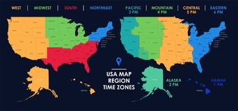 Detailed Map Of US Regions And Time Zones, Colorful ...