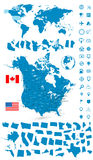Detailed map of USA and Canada with World map navigation set Stock Photo