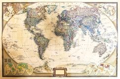 Detailed map of the world. Detailed world map with two hemispheres, which depicts the continents, seas, oceans, names of countries, their capitals and cities Royalty Free Stock Image