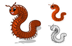 Detailed Millipede Cartoon Character with Flat Design and Line Art Black and White Version Royalty Free Stock Images