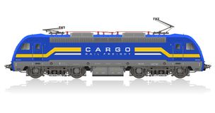 Detailed model of electric locomotive stock photos