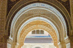 Detailed Moorish Arches in the Alhambra Palace Royalty Free Stock Images