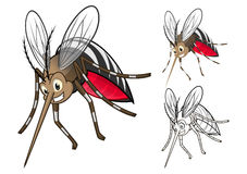 Detailed Mosquitoes Cartoon Character with Flat Design and Line Art Black and White Version stock photo