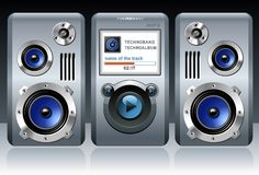 Detailed MP3 player with speakers royalty free illustration