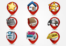 Detailed navigation icons set 1. Nine red detailed navigation icons Royalty Free Stock Images