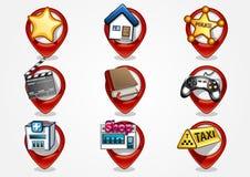 Detailed navigation icons set 1. Nine red detailed navigation icons Stock Illustration