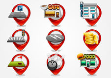 Detailed navigation icons set 2. Detailed navigation red icons set 2 Royalty Free Stock Images