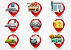 Detailed navigation icons set 2. Detailed navigation red icons set 2 Vector Illustration