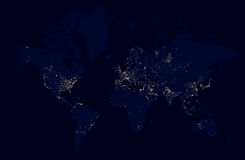 Detailed night map of the world with lights cities Royalty Free Stock Images