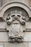 Detailed old heraldry of Barcelona. Detailed old architecture facade heraldry of Barcelona, Spain Royalty Free Stock Photo