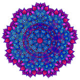 Detailed ornamental mandala ona in a purple and blue. Ethnic ornament. Isolated on a white background. Royalty Free Stock Photo