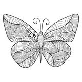 Detailed ornamental sketch of a butterfly. Hand drawn zentangle for adult anti stress. Coloring page with high details isolated on white background. Zentangle Royalty Free Stock Image