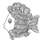 Detailed ornamental sketch of a fish. Hand drawn zentangle for adult anti stress. Coloring page with high details isolated on white background. Zentangle Stock Images