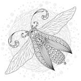 Detailed ornamental sketch of a moth. Large exotic butterfly. Page of coloring book for adults and children, art therapy. Outline drawing, doodles. Vector Stock Photography