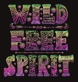 Detailed ornamental Wild Free Spirit quote designer vector illustration