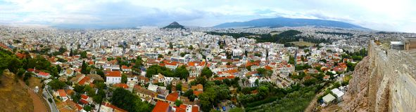 Detailed Panorama of Athens Greece bird's-eye view over the la royalty free stock photography