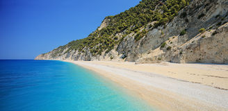 Detailed panorama of Egremni beach on the island of Lefkada Stock Image