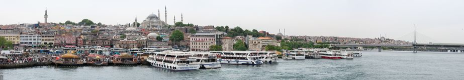 Panorama view of the embankment of the Asian side of Istanbul with ships, people, buildings and mosques, Turkey stock image