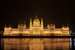 Detailed parliament in Budapest at night Royalty Free Stock Photography