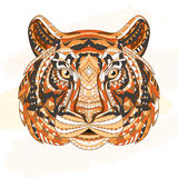 Detailed Patterned head of the tiger. African indian totem Ethnic tribal aztec design. On the grunge background. It may Royalty Free Stock Images