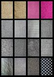 Detailed patterns of different fabrics royalty free stock photos