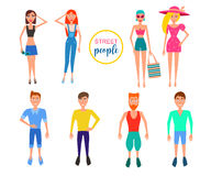 Detailed people character. Active Lifestyle. street clothes fashion style. Vector flat Illustration Stock Photos