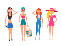 Detailed people character. Active Lifestyle. street clothes fashion style. Vector flat Illustration Stock Photography