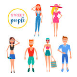 Detailed people character. Active Lifestyle. street clothes fashion style. Vector flat Illustration Stock Photo