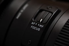 Detailed photo of black lens with buttons Royalty Free Stock Photos
