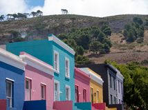 Detailed photo of colorful houses in the Malay Quarter, Bo Kaap, Cape Town, South Africa.. Historical area of brightly painted houses in the city centre royalty free stock photography