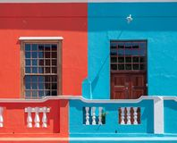 Detailed photo of colorful houses in the Malay Quarter, Bo Kaap, Cape Town, South Africa. Historical area of brightly painted houses in the city centre royalty free stock photos