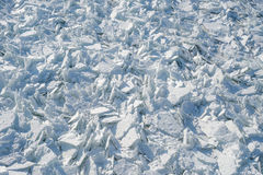 Detailed photo of frozen St-Lawrence River in Montreal, with cru Royalty Free Stock Images