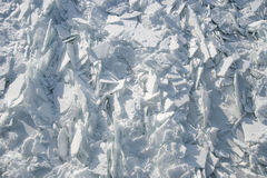 Detailed photo of frozen St-Lawrence River in Montreal, with cru Royalty Free Stock Photo