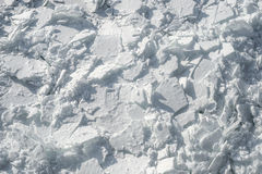Detailed photo of frozen St-Lawrence River in Montreal, with cru Royalty Free Stock Photography