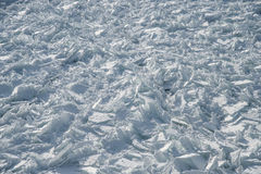 Detailed photo of frozen St-Lawrence River in Montreal, with cru Royalty Free Stock Photos